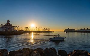 Фотография США Рассвет и закат Пристань Корабль Здания Калифорнии Залив Long Beach