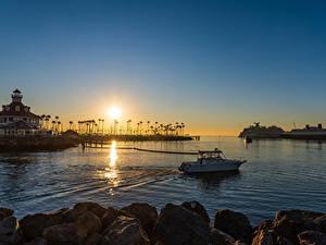 Обои для рабочего стола США Рассвет и закат Пристань Корабль Здания Калифорнии Залив Long Beach Природа