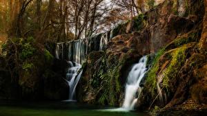 Картинки США Водопады Калифорния Скалы Мхом Деревья San Martin Природа