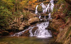 Фото Штаты Водопады Камень Осенние Catawaba Falls North Carolina Природа