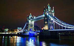 Картинки Великобритания Мост Англия Лондон Ночные
