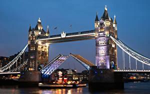 Фотография Великобритания Мост Река Дома Англия Лондон Ночью Города