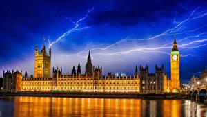 Фотографии Великобритания Англия Дома Речка Небо Лондоне Биг-Бен Ночь Молнии