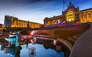 Обои Великобритания Фонтаны Скульптуры Лондон Дворец Лестница Ночью Birmingham