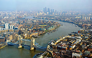 Фото Великобритания Дома Река Мост Англия Лондон Сверху