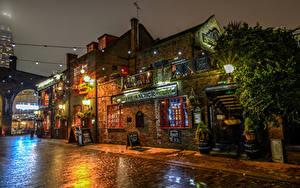 Обои Великобритания Дома Лондоне Улиц Ночь Уличные фонари Города