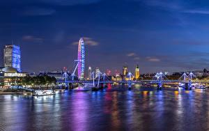 Фотографии Великобритания Здания Реки Мосты Лондоне Колесо обозрения Ночь Города