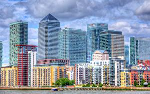 Картинки Великобритания Здания Небоскребы Реки Лондон HDRI Города