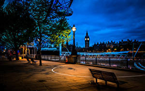 Фотография Великобритания Дома Англия Лондон Ночь Уличные фонари Скамья город