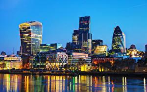 Фотография Великобритания Дома Река Лондон Ночные