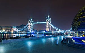 Фотографии Великобритания Дома Реки Мосты Англия Лондон Ночь Уличные фонари Башня