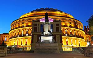 Фото Великобритания Здания Памятники Вечер Лондон Уличные фонари Royal Albert Hall