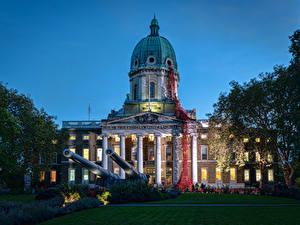 Картинки Великобритания Дома Вечер Пушки Лондон Музей Газон Imperial War Museum