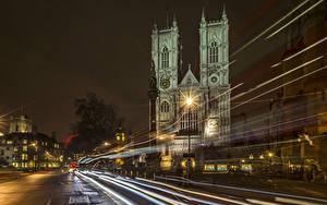 Фотографии Великобритания Здания Дороги Лондон Ночные Уличные фонари Едущий