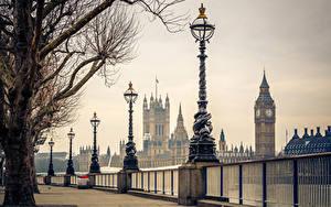 Фотография Великобритания Лондоне Забора Уличные фонари Биг-Бен