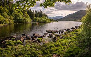 Картинки Великобритания Гора Речка Камень Уэльс Snowdonia Природа