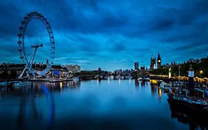 Обои Великобритания Речка Здания Причалы Катера Лондон Колесо обозрения Ночь Westminster