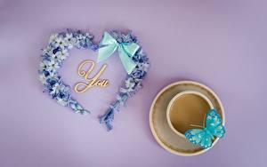 Обои День святого Валентина Бабочки Сердце Бантик Чашке