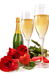 Обои День всех влюблённых Игристое вино Розы Белый фон Бутылка Бокалы Красный Сердечко Цветы Еда