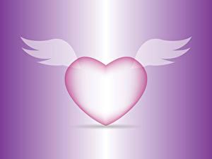 Фото День всех влюблённых Цветной фон Сердечко Крылья