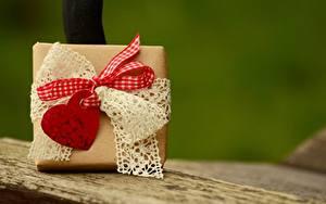 Обои День святого Валентина Подарки Бант Сердце