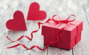 Фото День всех влюблённых Подарков Сердца Красный Коробки Лента