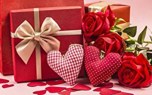 Фотография День всех влюблённых Роза Сердечко Красная Подарок Бантики