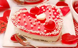 Фото День святого Валентина Сладкая еда Торты Сердце