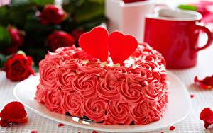 Фото День всех влюблённых Сладости Торты Сердечко Лепестки Пища