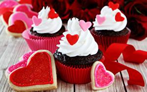 Фотография День святого Валентина Сладости Пирожное Печенье Капкейк кекс Дизайн Сердце
