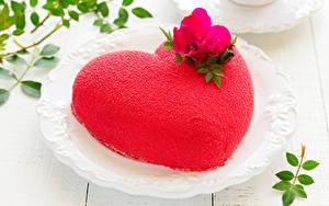 Обои День святого Валентина Сладости Торты Дизайна Сердечко Красная