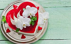 Фото День святого Валентина Сладкая еда Торты Орхидеи Доски Тарелка Дизайна Сердечко