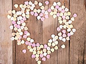 Фотография День святого Валентина Сладости Конфеты Доски Сердца