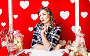 Фотография День святого Валентина Сладости Сердце Шатенка Девушки