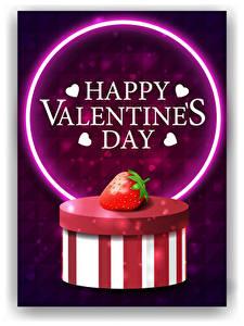 Обои для рабочего стола День святого Валентина Векторная графика Клубника Белым фоном Коробка Слова Английский Сердца
