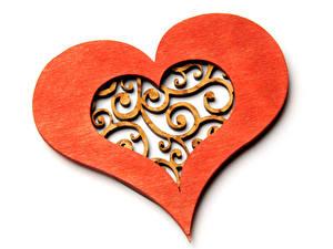 Фотография День святого Валентина Белый фон Сердце Деревянный Дизайн