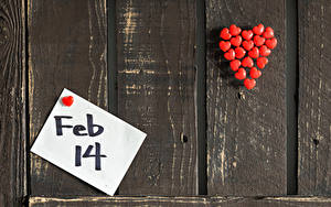 Обои День святого Валентина Доски Стене Английский Сердце