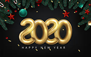 Картинка Векторная графика Новый год На черном фоне Слова 2020 Ветвь Шар Звездочки Английский