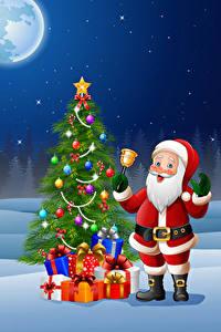 Фотографии Векторная графика Рождество Новогодняя ёлка Санта-Клаус Подарок Колокольчик