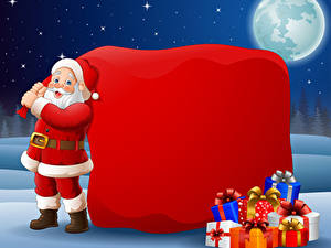 Обои для рабочего стола Векторная графика Рождество Дед Мороз Подарки Униформа Луны