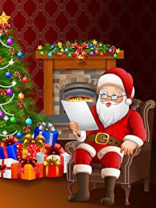 Обои для рабочего стола Векторная графика Новый год Дед Мороз Очки Униформа Елка Подарки Сидит