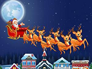 Обои Векторная графика Новый год Небо Звезды Олени Ночь Луна Сани Дед Мороз Полет