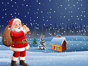 Обои для рабочего стола Векторная графика Новый год Зима Дома Снег Дед Мороз