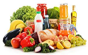 Картинки Овощи Хлеб Виноград Лимоны Перец овощной Белым фоном Банке Бутылка Яйцами Продукты питания