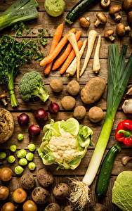 Фотографии Овощи Морковь Картошка Лук репчатый Грибы Капуста Доски Пища
