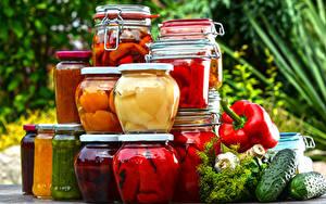 Обои Овощи Огурцы Укроп Банке Пища