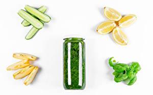 Картинка Овощи Огурцы Лимоны Яблоки Белый фон Банка Часть Продукты питания