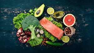 Фотографии Овощи Рыба Еда
