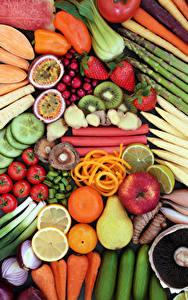 Фотография Овощи Фрукты Яблоки Помидоры Груши Цитрусовые Клубника