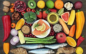 Картинки Овощи Фрукты Рыба Перец Цитрусовые Орехи Пища